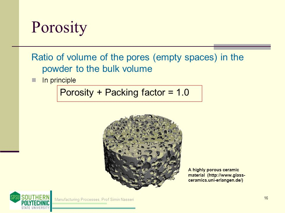 Porosity Ratio of volume of the pores (empty spaces) in the powder to the bulk volume. In principle.