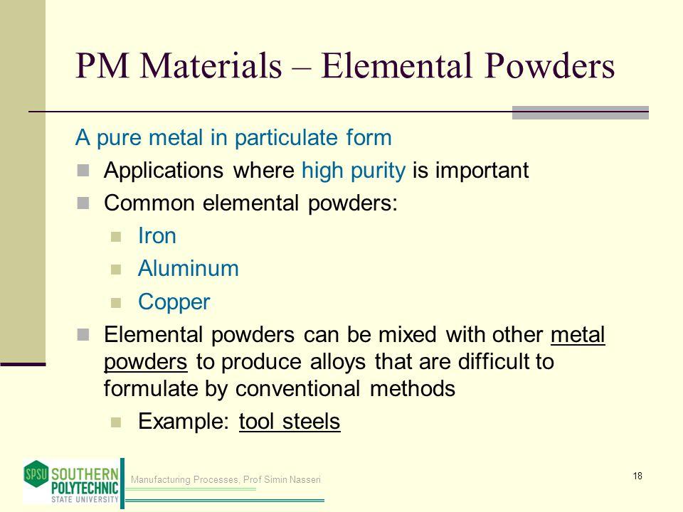 PM Materials – Elemental Powders