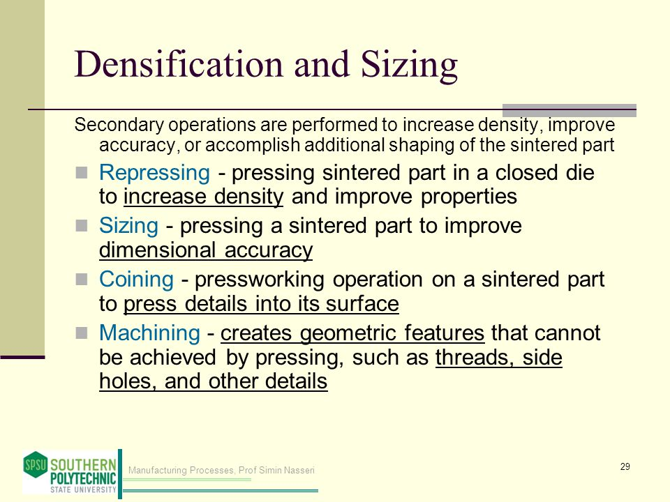 Densification and Sizing