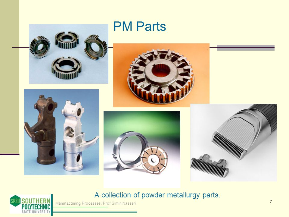 PM Parts A collection of powder metallurgy parts.