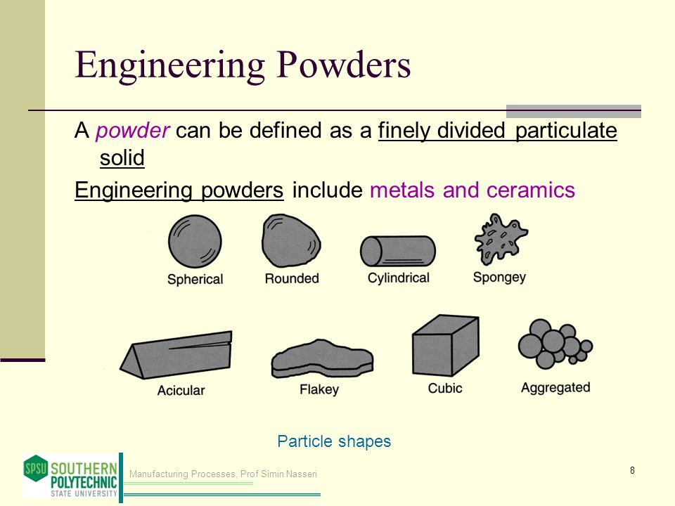 Engineering Powders A powder can be defined as a finely divided particulate solid. Engineering powders include metals and ceramics.