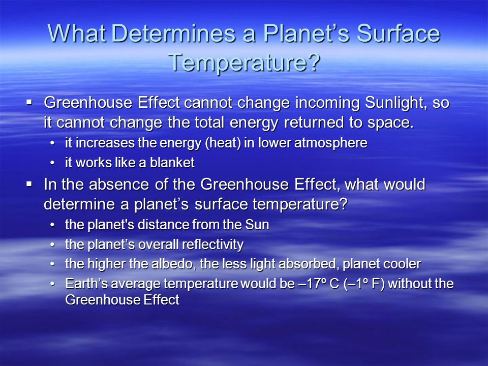 What Determines a Planet's Surface Temperature