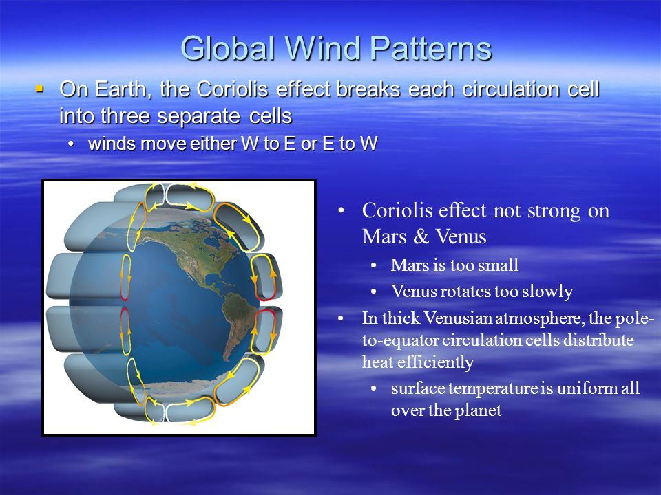 Global Wind Patterns On Earth, the Coriolis effect breaks each circulation cell into three separate cells.
