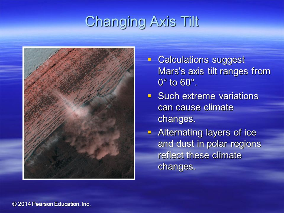 Changing Axis Tilt Calculations suggest Mars s axis tilt ranges from 0° to 60°. Such extreme variations can cause climate changes.
