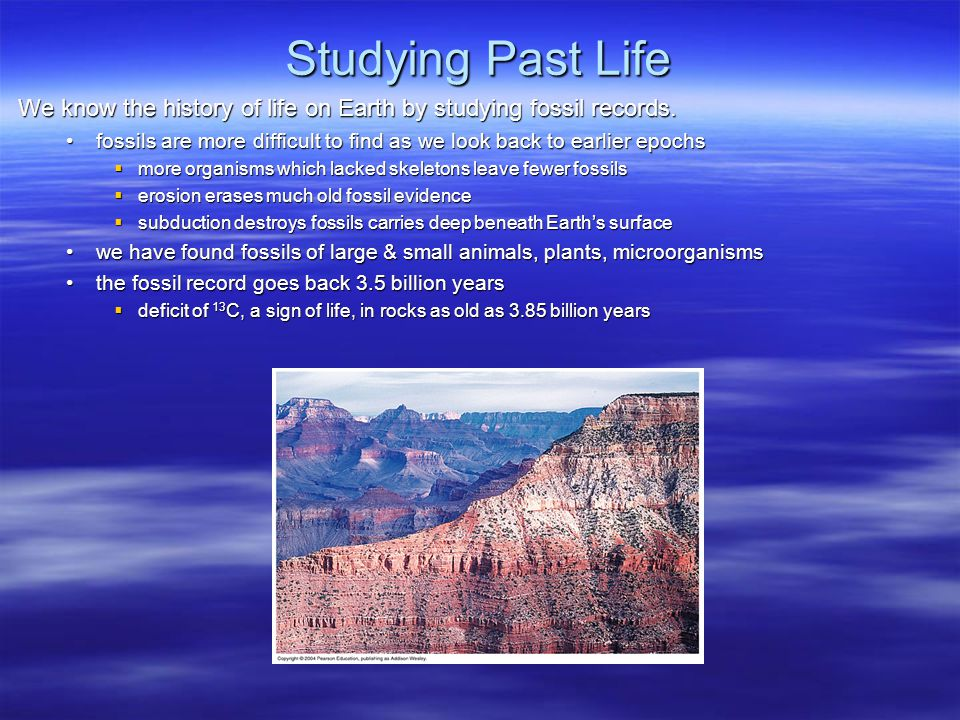 Studying Past Life We know the history of life on Earth by studying fossil records.