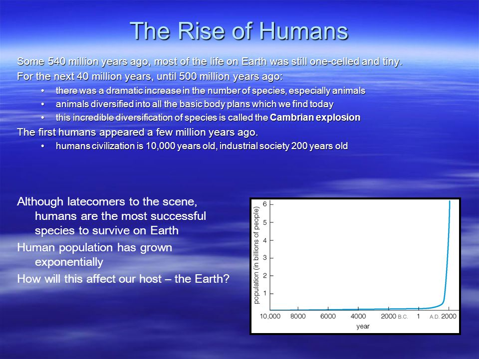 The Rise of Humans Some 540 million years ago, most of the life on Earth was still one-celled and tiny.