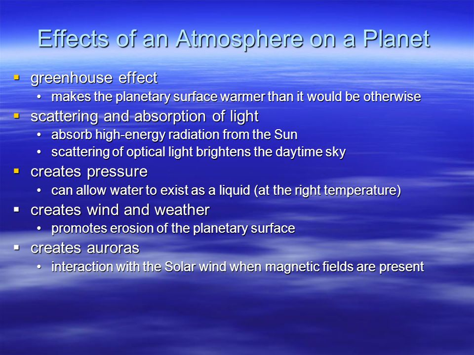 Effects of an Atmosphere on a Planet
