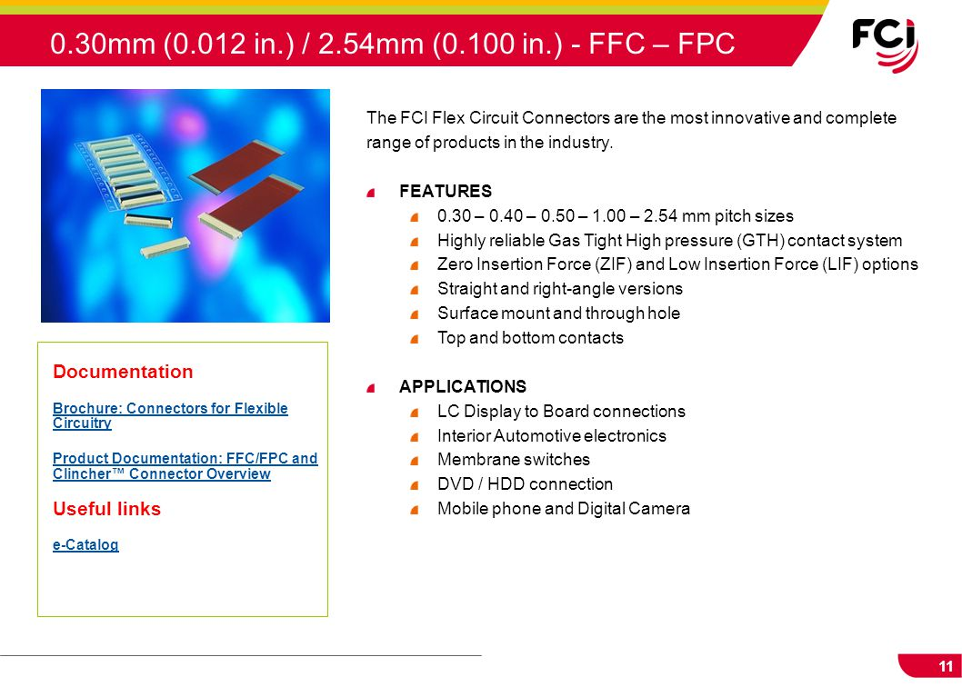 0.30mm (0.012 in.) / 2.54mm (0.100 in.) - FFC – FPC