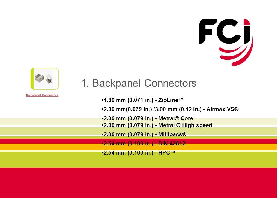 1. Backpanel Connectors 1.80 mm (0.071 in.) - ZipLine™