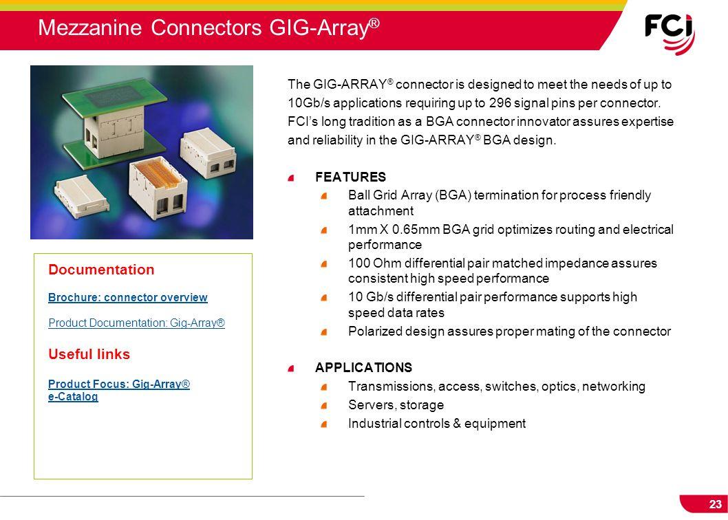 Mezzanine Connectors GIG-Array®