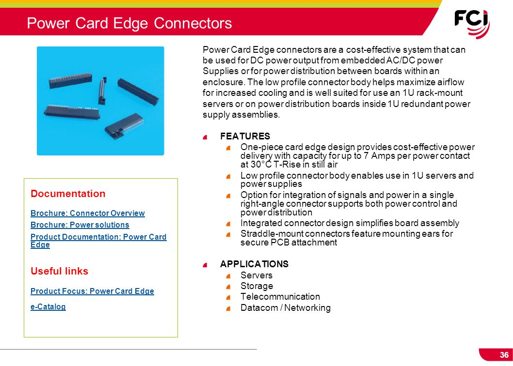 Power Card Edge Connectors