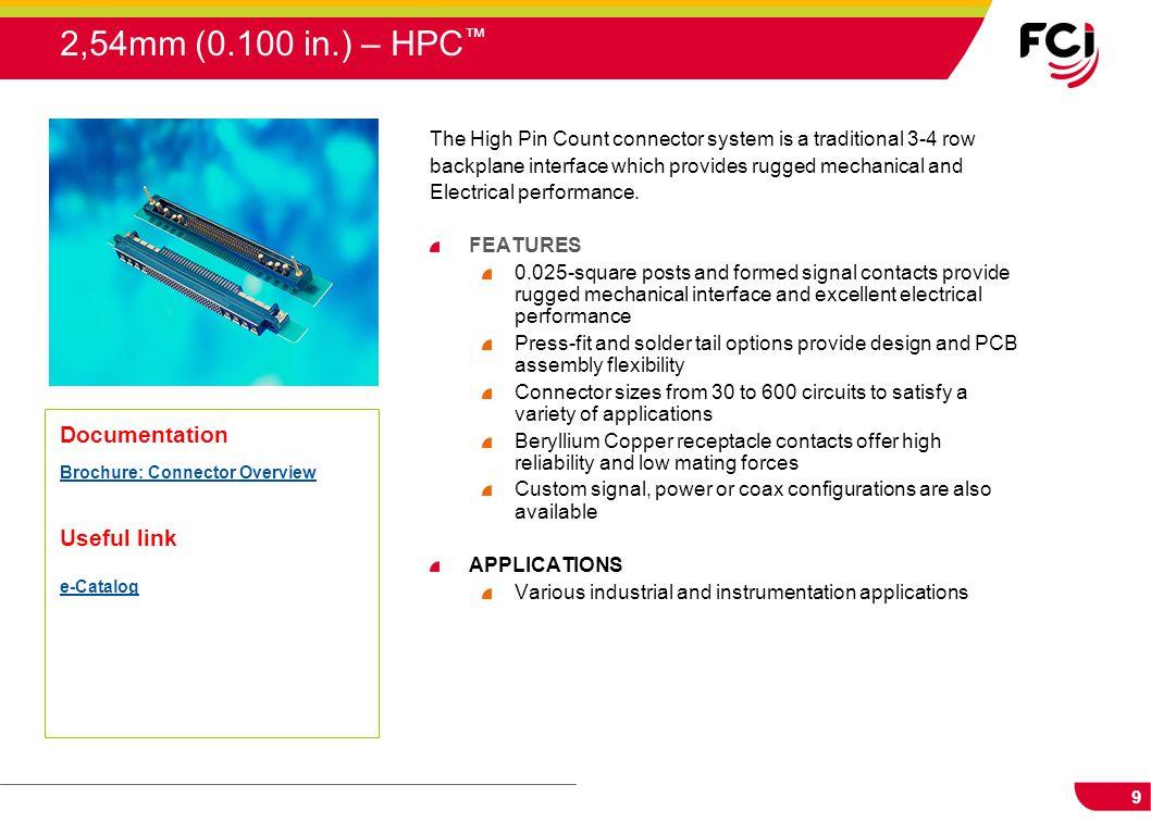 2,54mm (0.100 in.) – HPC™ Documentation Useful link