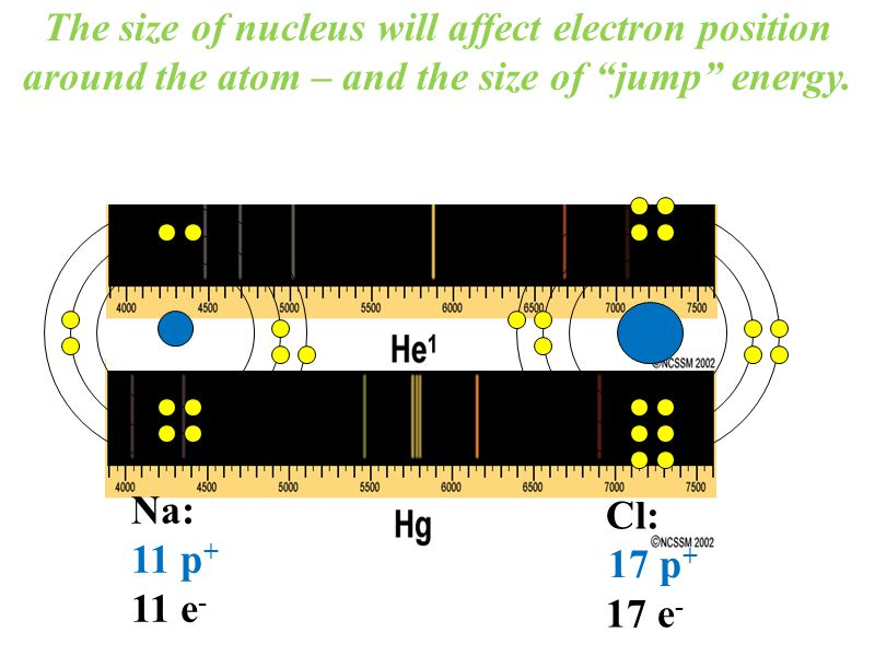 The size of nucleus will affect electron position around the atom – and the size of jump energy.
