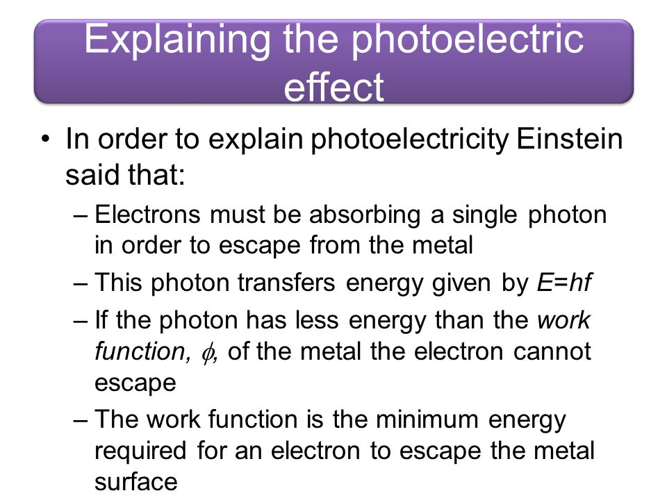 Explaining the photoelectric effect