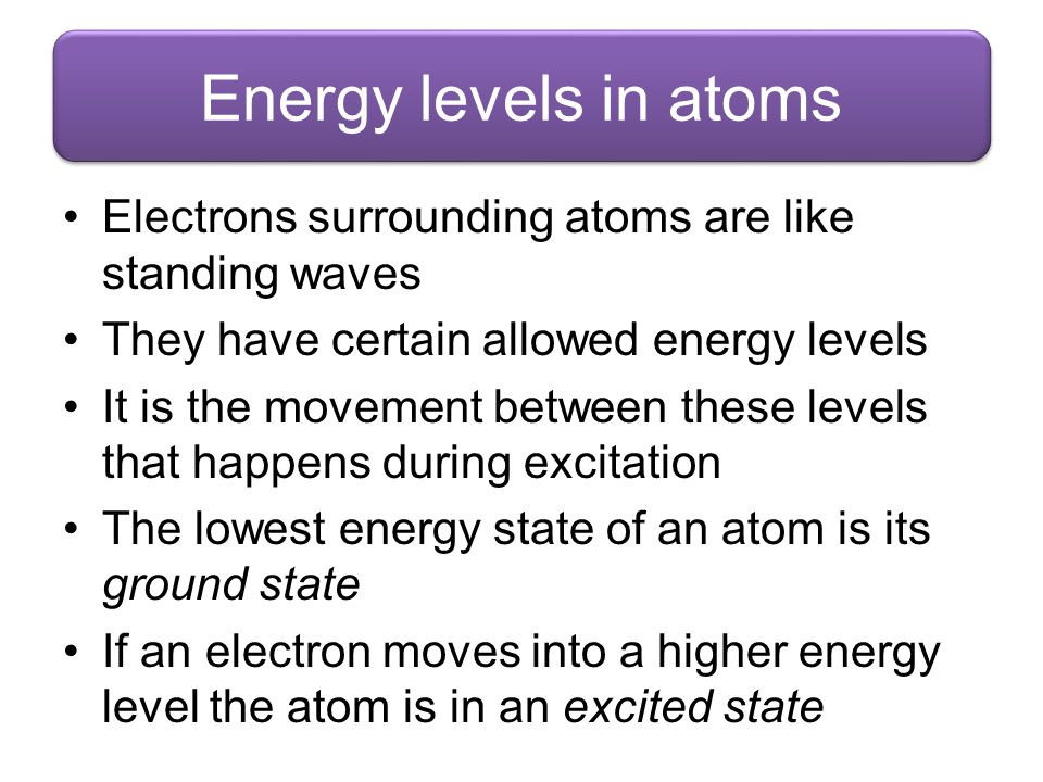 Energy levels in atoms Electrons surrounding atoms are like standing waves. They have certain allowed energy levels.