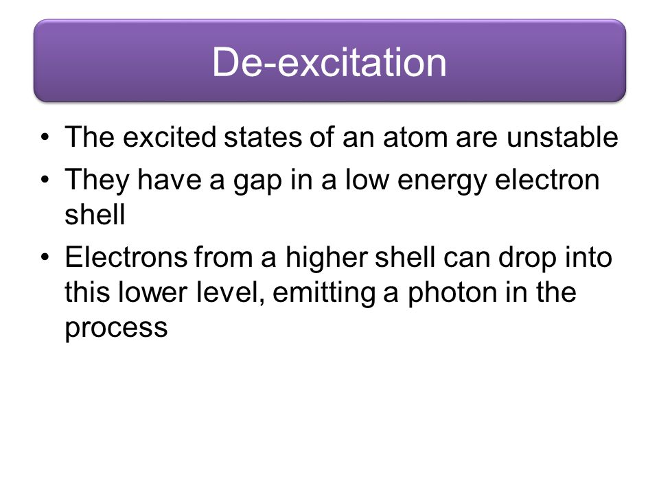 De-excitation The excited states of an atom are unstable