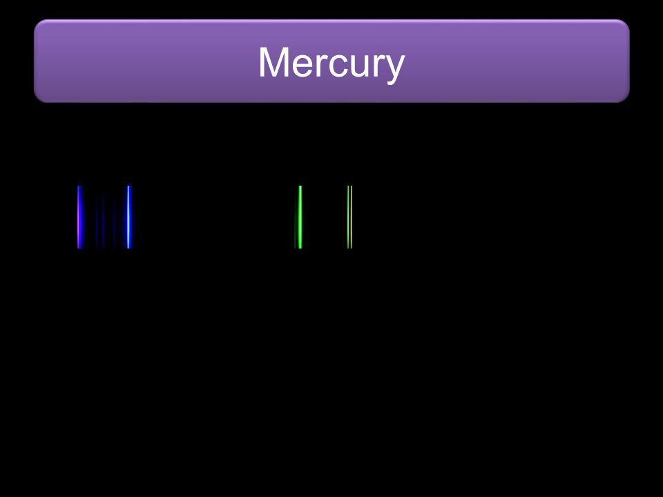 Mercury Image from: http://commons.wikimedia.org/wiki/File:Visible_spectrum_of_mercury.jpg