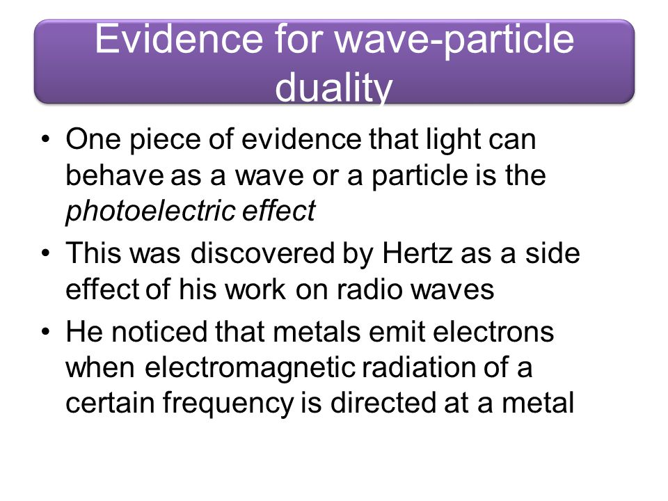 Evidence for wave-particle duality