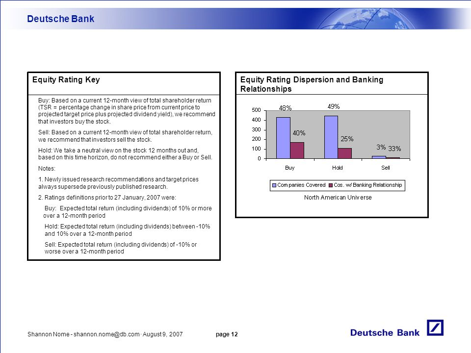 Deutsche Bank Equity Rating Key