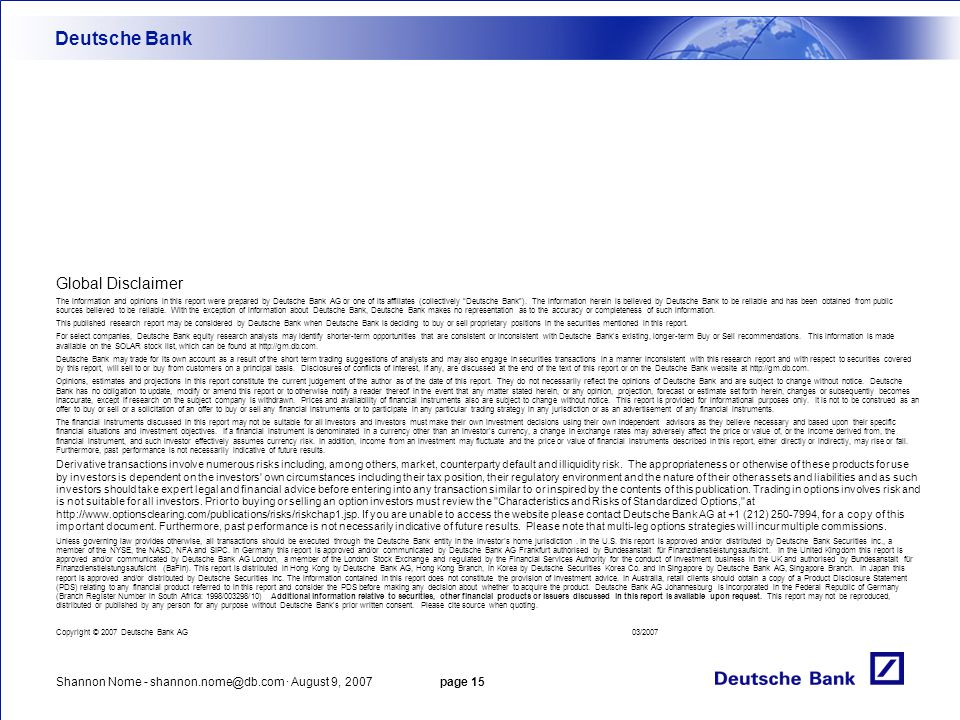 Deutsche Bank Global Disclaimer