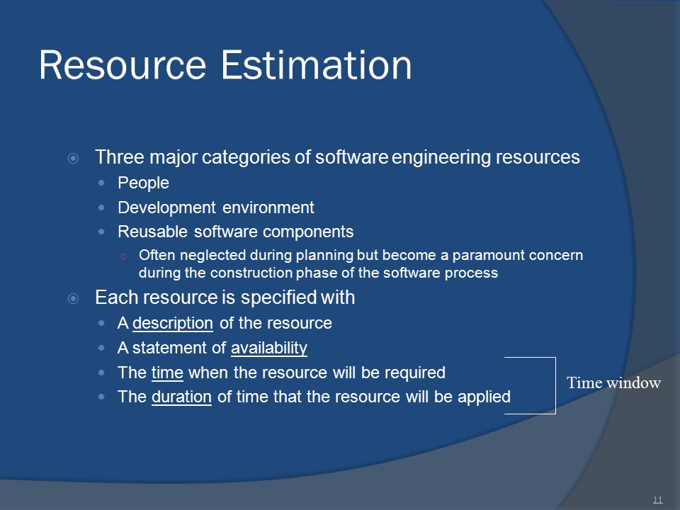 Resource Estimation Three major categories of software engineering resources. People. Development environment.