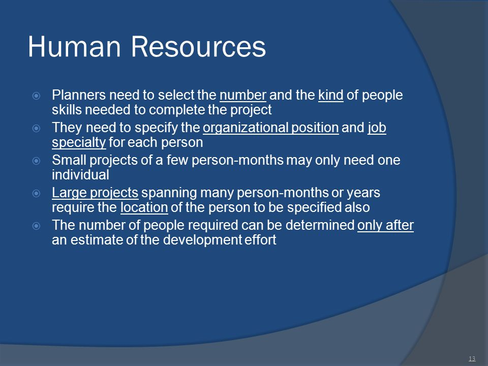 Human Resources Planners need to select the number and the kind of people skills needed to complete the project.