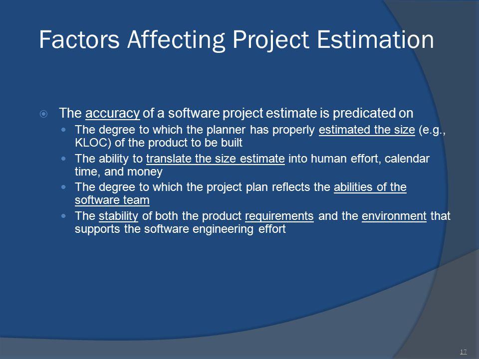 Factors Affecting Project Estimation