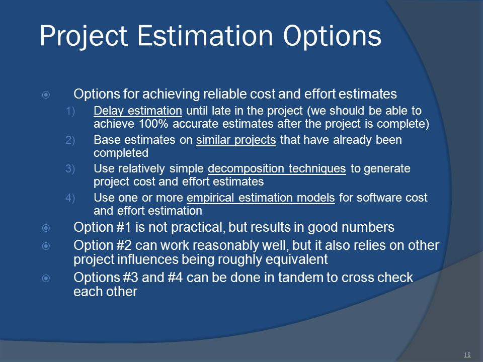 Project Estimation Options