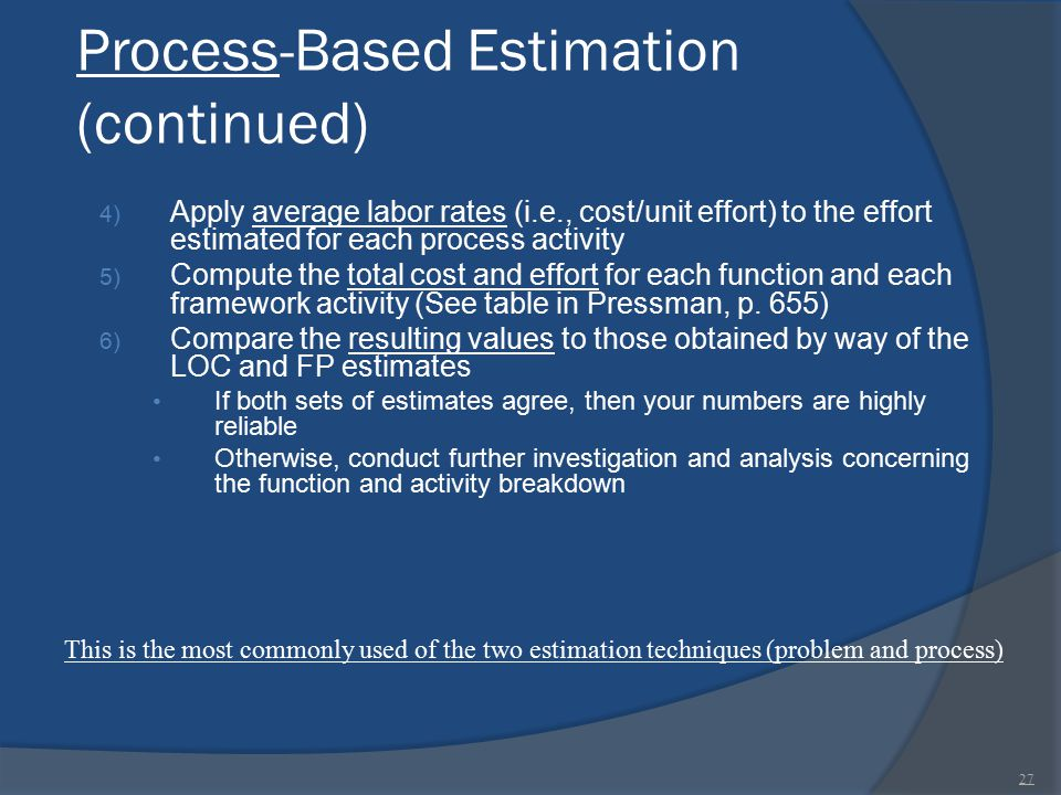 Process-Based Estimation (continued)