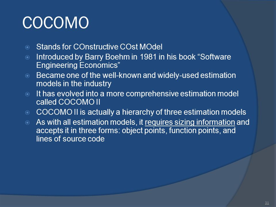 COCOMO Stands for COnstructive COst MOdel