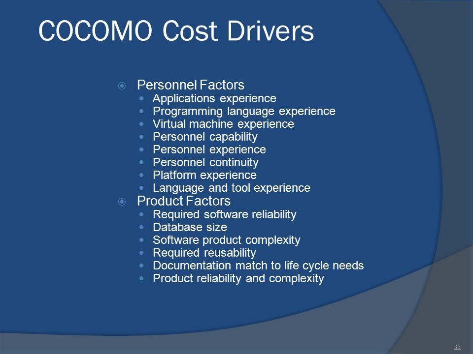 COCOMO Cost Drivers Personnel Factors Product Factors