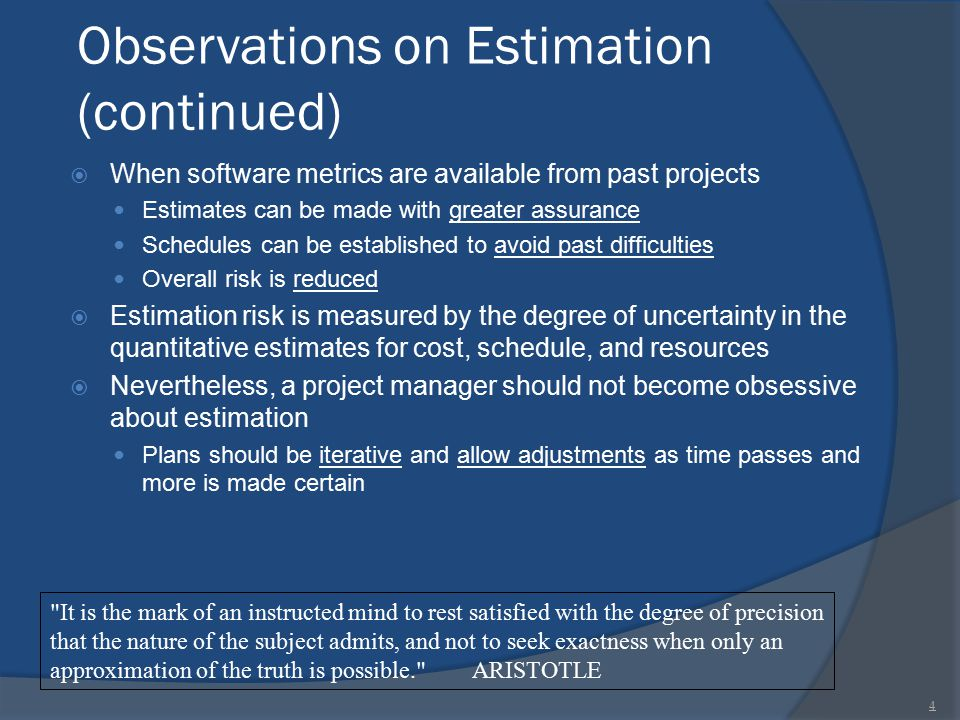 Observations on Estimation (continued)