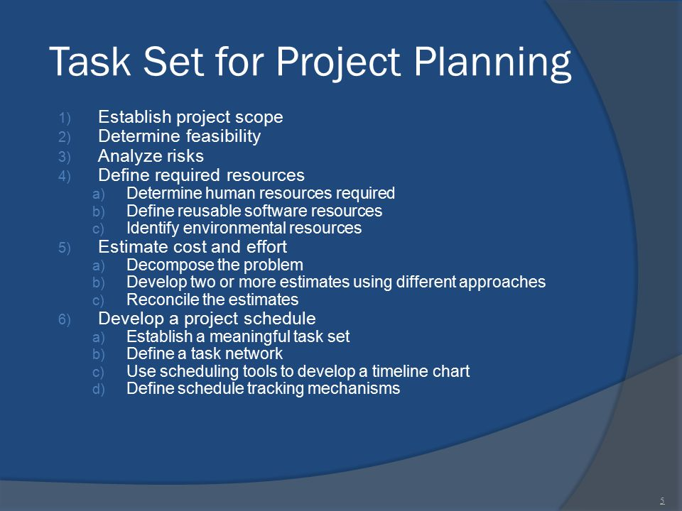 Task Set for Project Planning