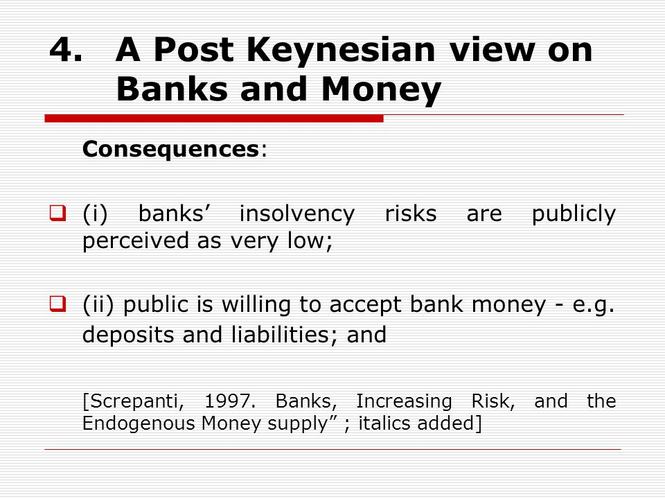4. A Post Keynesian view on Banks and Money