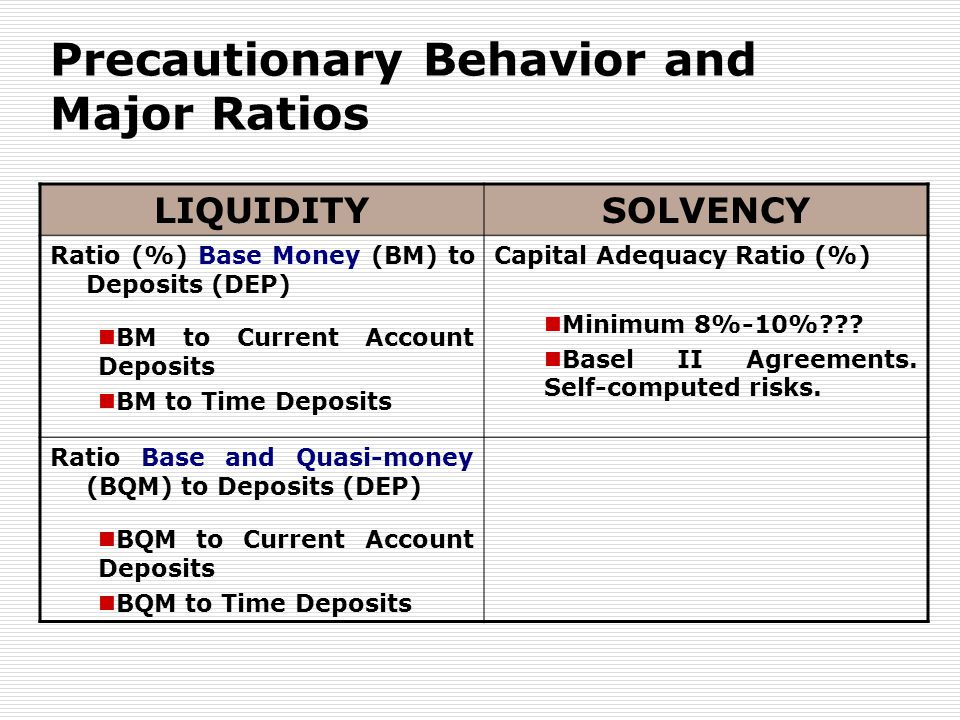 Precautionary Behavior and Major Ratios