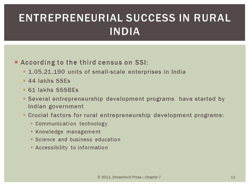 Entrepreneurial Success in Rural India