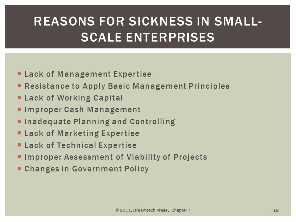 Reasons for Sickness in Small-Scale Enterprises