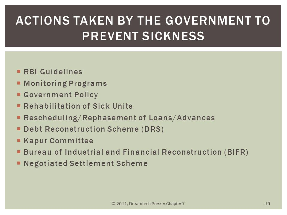 actions taken by the government to prevent sickness