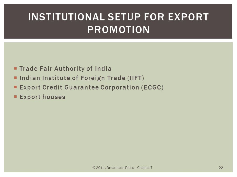 Institutional Setup for Export Promotion