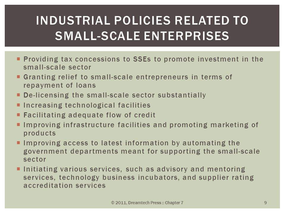 Industrial Policies Related to Small-Scale Enterprises