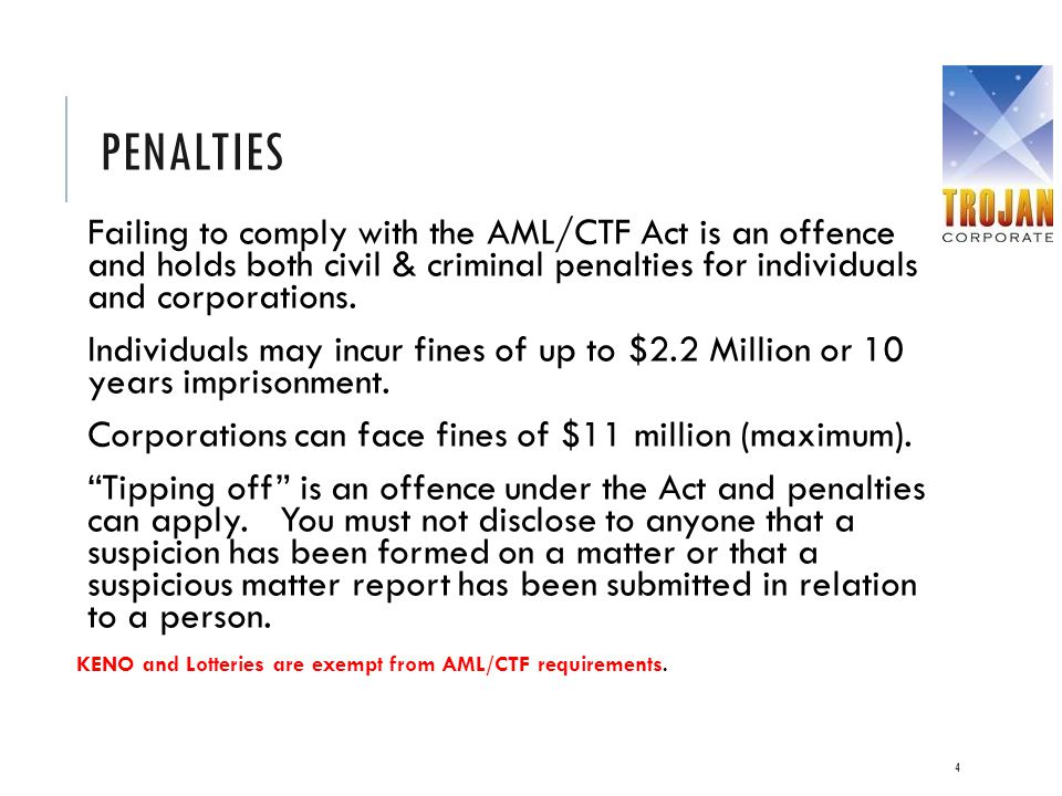 Penalties Failing to comply with the AML/CTF Act is an offence and holds both civil & criminal penalties for individuals and corporations.