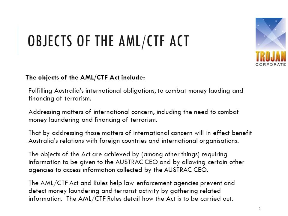 Objects of the AML/CTF Act