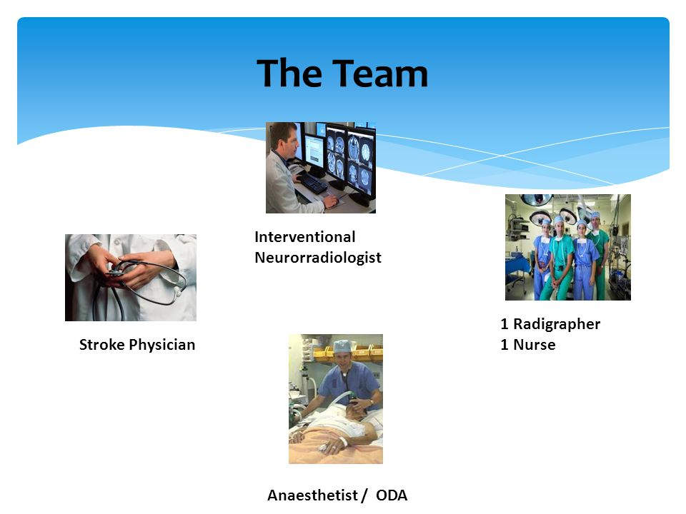The Team Interventional Neurorradiologist 1 Radigrapher 1 Nurse
