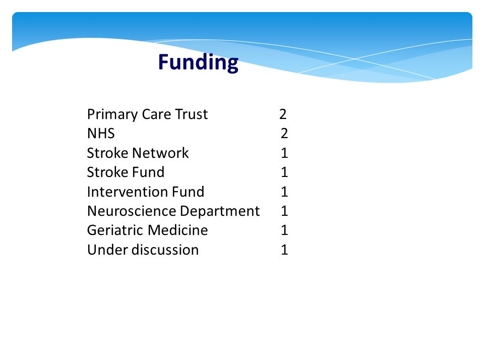 Funding Primary Care Trust 2 NHS 2 Stroke Network 1 Stroke Fund 1