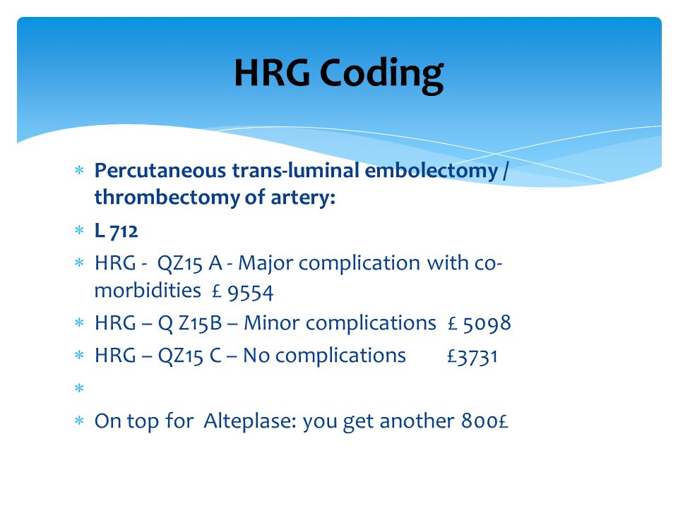 HRG Coding Percutaneous trans-luminal embolectomy / thrombectomy of artery: L 712. HRG - QZ15 A - Major complication with co- morbidities £ 9554.