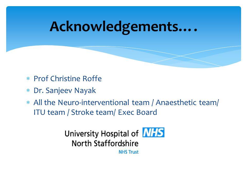 Acknowledgements…. Prof Christine Roffe Dr. Sanjeev Nayak