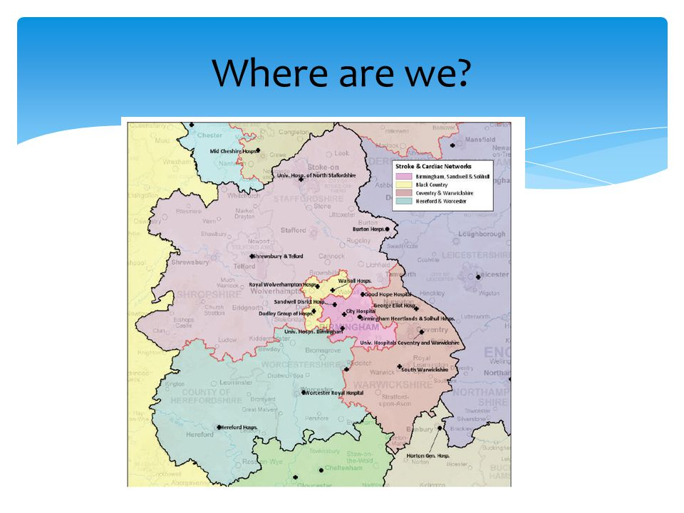 Where are we Location. In relation to neighbours, borders and other Network areas. Type of population and size.