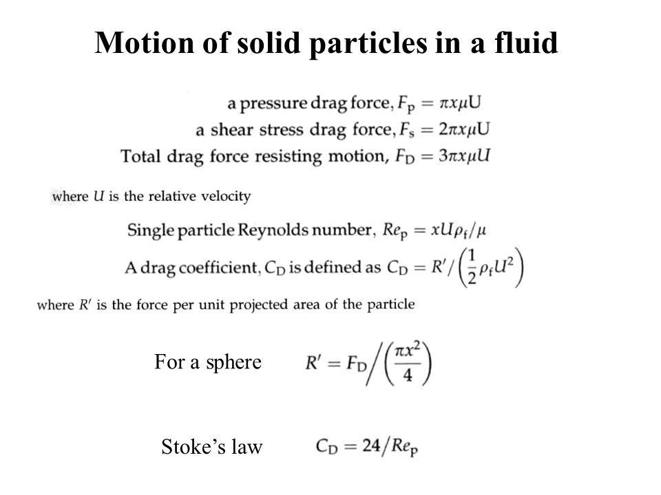 Motion of solid particles in a fluid