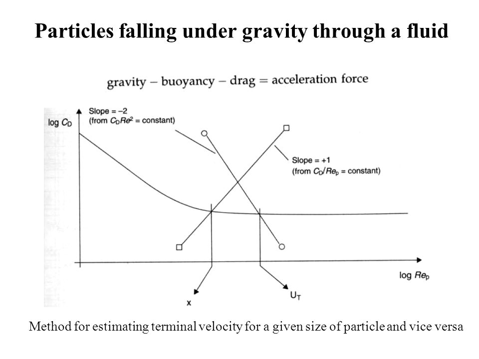 Particles falling under gravity through a fluid