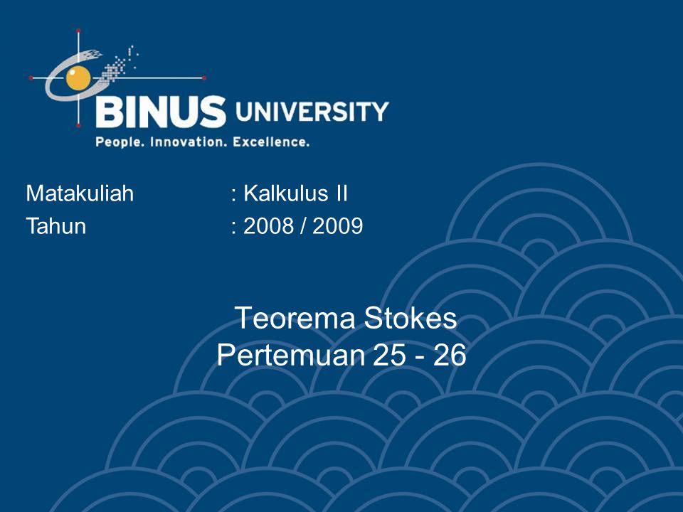 Teorema Stokes Pertemuan 25 - 26